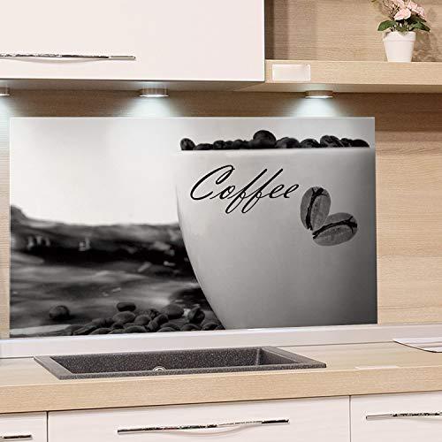 GRAZDesign Küchenrückwand Glas Schwarz/Weiß - Glasbilder Coffee - Glaswand Küche Kaffeetasse / 100x50cm