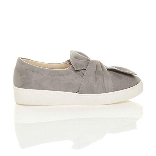 Damen Flach Schleife Knoten Mode Trend Plimsolls Sneaker