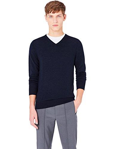 Meraki pullover lana merino uomo scollo a v, blu (navy), 52 (taglia produttore: large)
