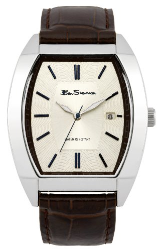 Ben Sherman Men's Quartz Watch with Beige Dial Analogue Display and Brown Leather Strap R955