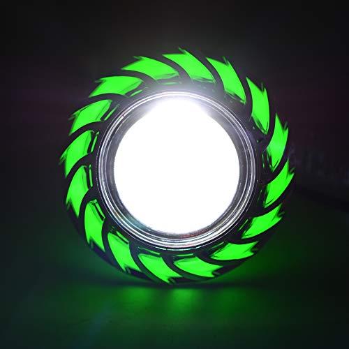 Motorrad-Scheinwerfer, Super Bright 1200LM 30W Demon Angel Eyes Halo Ring Motorrad Universal Headlight Work Light Driving Fog Spot Lampe,Green -