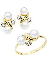 f0a009bffb5d Iyé Biyé Jewels Conjunto niña mujer oro amarillo 18 ktes 1ª Comunión anillo  y pendientes con