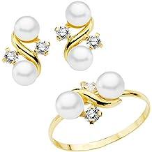 956609259c11 Iyé Biyé Jewels Conjunto niña mujer oro amarillo 18 ktes 1ª Comunión anillo  y pendientes con