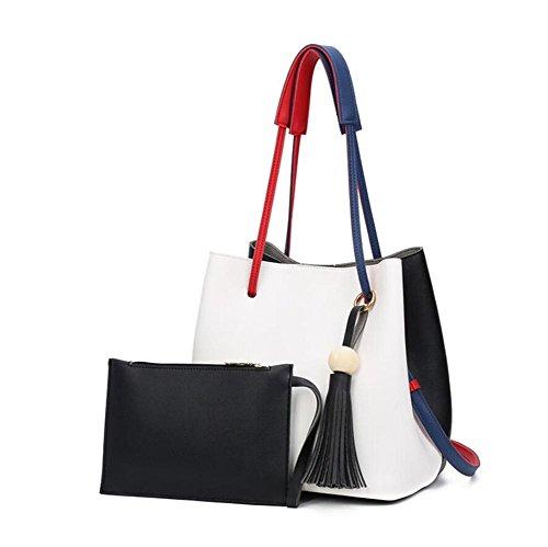 HQYSS Damen-handtaschen Große Kapazitäts-PU-lederne Troddeln verziert Schulter-Handtaschen-Multifunktionsklassische justierbare Wannen-Beutel-Einkaufstasche B