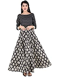 ANAYNA Women's Cotton Printed Anarkali Kalidar Long Dress(Black)