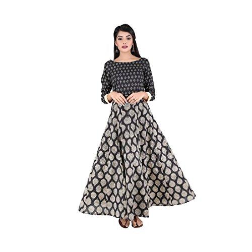 ANAYNA Women's Cotton Printed Anarkali Kalidar Long Dress(Black)