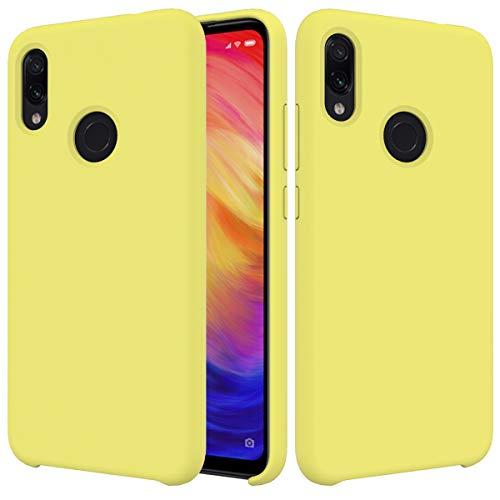 CoverTpu Funda Xiaomi Redmi Note 7 silicona, Amarillo Funda Líquido de Silicona Gel TPU Flexible, Carcassa per Xiaomi Redmi Note 7 Anti-Rasguño y Resistente Protectora Tapa Caso Case Amarillo