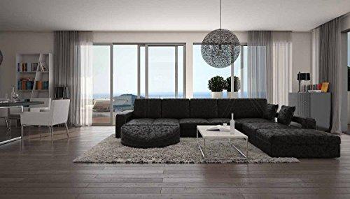 Wohn-Landschaft XXL mit Bezug aus Microfaser 335x220 cm L-Form schwarz | Duragani | Designer Couch-Garnitur mit Ottomane rechts | XXL Sofa für Wohnzimmer schwarz 335cm x 220cm