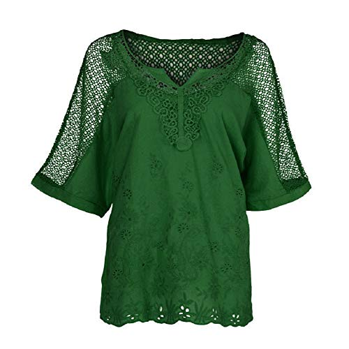 TOPSELD T Shirt Damen, Women Summer O-Neck Short Sleeve Hollow Out Solid Casual Blouse Top ()