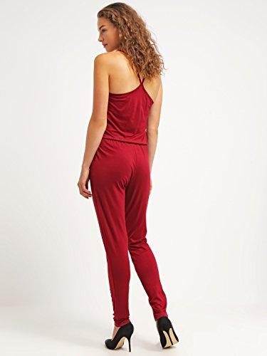 Jumpsuit für Damen in Bordeaux-Rot von ★The Style Room ★ Einfarbiger, schulterfreier Overall - 2