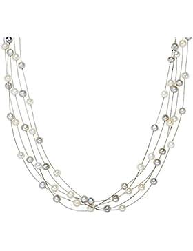 Valero Pearls Classic Collection Damen-Kette Hochwertige Süßwasser-Zuchtperlen in ca.  6 mm Oval weiß / grau 925...