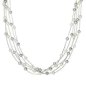 Valero Pearls Collier de perles - Perles de culture d'eau douce - Fil en acier inoxydable - Argent sterling 925 - Bijoux de perles, bijoux en acier inoxydable - 400320