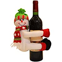 ZREAL Rojo Vino flaschenabdeckung Champán Papá Noel Muñeco de Nieve para Decorar Home Dinner Party, Snowman