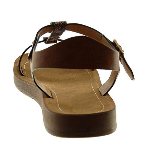 Angkorly Chaussure Mode Sandale Lanière Cheville Salomés Femme Peau de Serpent Lanière Clouté Talon Compensé 2 cm Camel