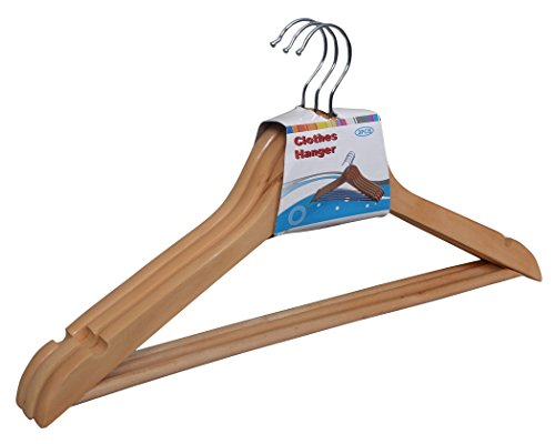 Dailyessentialz Solid Wood Hanger With trouser Hooks,Natural Wood Finish With Anti Rust Hooks  available at amazon for Rs.159