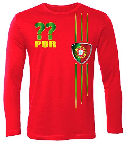 Portugal Wunsch Zahl ohne Name Fan t Shirt Artikel 3215 Fuss Ball Langarm Longsleeve EM 2020 WM 2022 camisola Trikot Look Männer Herren M