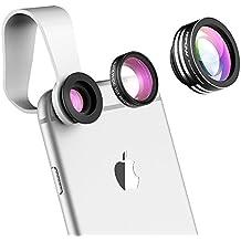 Lente Movil Ojo de Pez 3 en 1 de Mpow Supremo de 180 Grados (Más 0.65X Ángulo Amplio Más 10X Lente Marco con Pinza Acolchada para iPhone 6s 6, y Android Smartphone)