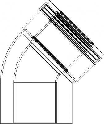 Courbe coaxial 45° M–F Ø60polypropylène (PPS)/extérieur aluminium 100pour chaudière à condensation