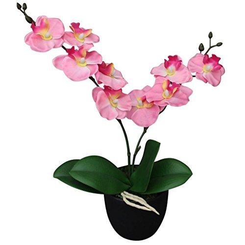 vidaXL Künstliche Orchidee mit Topf Kunstpflanze Kunstblume Dekoblume 30 cm Rosa