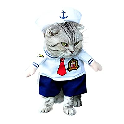 SMALLLEE_LUCKY_STORE Small Dog Clothes for Girls Boys Cat Dog Sailor Costume with Hat Navy All Seasons White