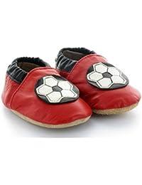 Chaussons Bébé en Cuir Souple Foot Rouge