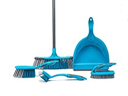 Beldray LA024152TQ 5 Piece Cleaning Set with Broom, Dustpan and Brush, Scrubbing Brush & Dish Brush, Turquoise