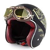 MotorradHelm Halbe Open Face Motorrad Helm, Retro Roller Erwachsene DOT Helm mit Brillen, Scooter...