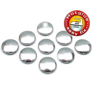 100 Stück Hotfix Metall-Nieten rund, Silber glänzend (Ø ca. 10 mm), Nailheads zum Aufbügeln