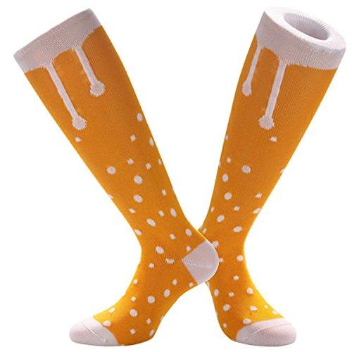 Samson® Lager Out Bier Pint Print Funky Funny Geschenk Neuheit Fashion Sports und Casual Knie Hohe Socken für Männer Frauen Kinder unisex Gr. M, Mehrfarbig - Lager Out (Leichte Socken Knie-hohe)