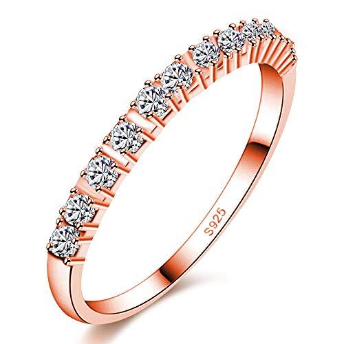 Uloveido Damen Rose Gold Überzogen 2mm Runde Zirkonia Halbe Ewigkeit Ringe Eheringe für Frauen Mädchen J029 (Rose Gold, Größe 10) (Diamant-moissanite Ring)