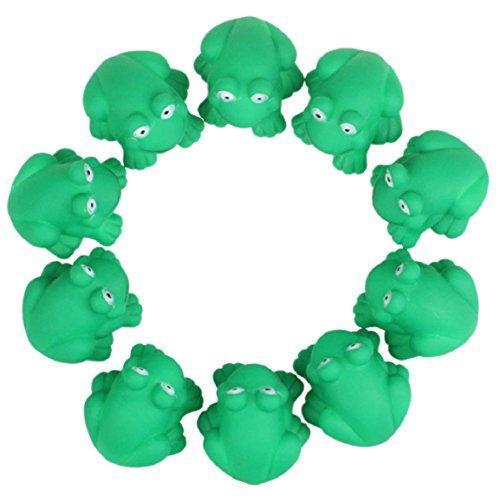 Culater® Kinder Baby 10 Stück grün Gummi Frosch mit Ton Badespielzeug (Frosch-gummi-spielzeug)