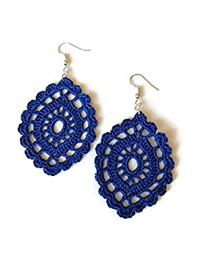 Boucles d'oreilles bleu cadeau de bijoux en dentelle pour sa sicilie ovale crochet fait à la main