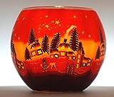 CBK-MS. Windlicht Teelicht Winterdorf Leuchtglas Teelichthalter ca. Ø 11 cm Höhe 8,5 cm Winter Dorf Schnee Winterlandschaft