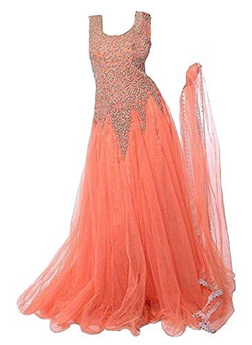 MAHAVIR FASHION Girls Soft Net Orange Embroidered Long Gown For Parties and Wedding Traditional Wear. (6-12 Yrs)