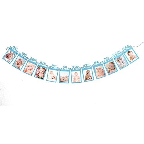 bescita Kids Birthday Gift Decorations 1-12 Monate Babyfoto Banner Monatliches Foto Clip Wand Dekoration (Blau)