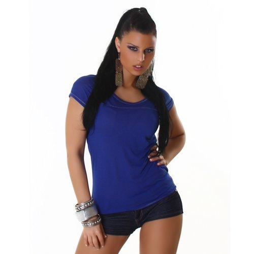 Sexy Top shirt col rond Taille 34,36,38,40 couleurs différentes Bleu