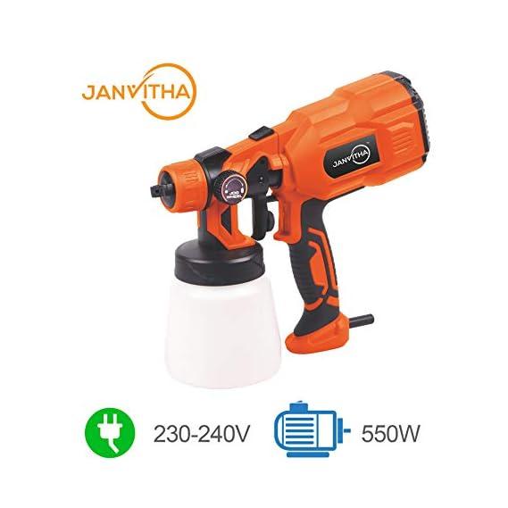Janvitha Fast Flawless Portable Plastic Electric Paint Sprayer Elite 550W (Orange) - 6 Months Warranty