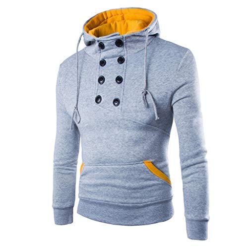 Outstone Herren Sweatshirt, Herren Kapuzenpullover Langarm Herbst Winter Casual Sweatshirt Hoodies Top Bluse Trainingsanzüge Pullover (Grau, M) -