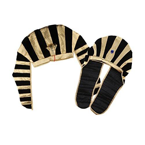 Homyl Confezione Da 2 Pezzi, Cappello Antico Faraone Con Re Faraone, Oro Nero, Copricapo A Righe, Per Donna