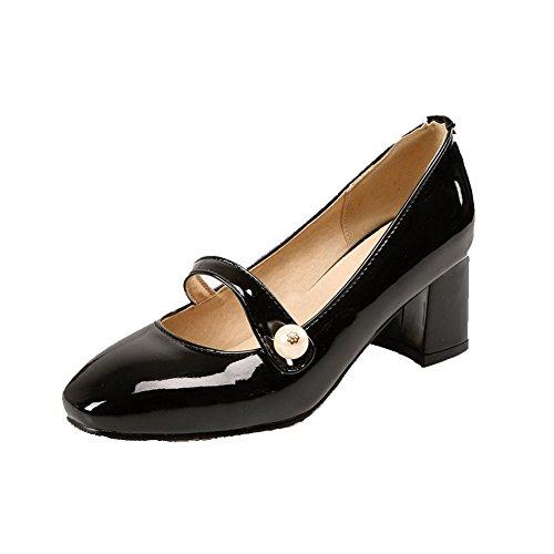 AllhqFashion Femme Carré à Talon Correct Couleur Unie Tire Chaussures Légeres Noir