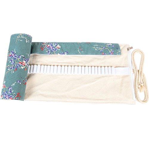 Damero Wrap Leinwand Stifterolle für 48/72 Buntstifte und Bleistifte Stifteetui Roll-up Mäppchen für Künstler, Verpackung Mehrzwecktasche für Reisen/Schule (Plum Flowers, 48 Holes) -