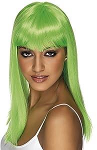 Smiffys-42159 Miffy Peluca Glamourama, Larga, Recta con Flequillo, Color Verde neón, Tamaño único (Smiffy
