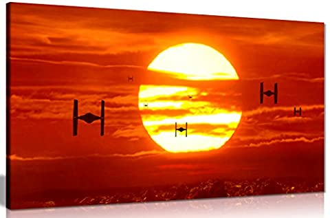 Tie Fighters Sunset Star Wars Leinwand Kunstdruck Art Wand Bild Leinwand Prints 76,2 x 40,6 cm (76.2 cm x 40,6 cm)