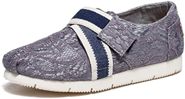 Sandales Verano Nuevo Sra. Transpirable Encaje Zapatos De Lona Zapatos Planos Velcro Zapatos Casuales