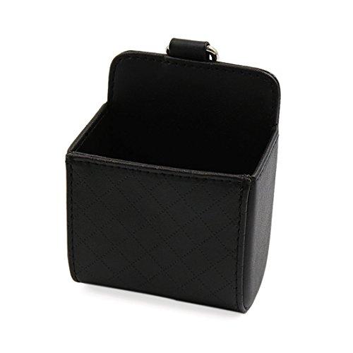 Sourcingmap pelle nera finto supporto rombo struttura archiviazione tasca custodia per telefonoper auto