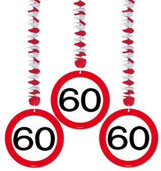 Rotor Spirale zum 60. Geburtstag, Deko 3 Stück Verkehrsschild