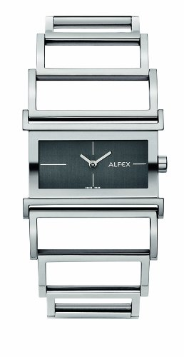 Alfex - 5564_192 - Montre Femme - Quartz Analogique - Cadran Noir - Bracelet Acier Gris