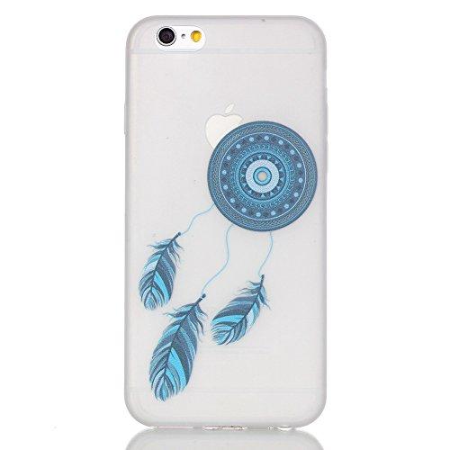 PowerQ Nachtleuchtende Serie Bunte Muster TPU Fall Hülle Case < Dream Tower - für IPhone6SPlus IPhone 6SPlus 6Plus IPhone6Plus >          Noctilucent Luminous Licht in dunklen Pattern Muster Druck Detailzeichn Blue feather Campanula