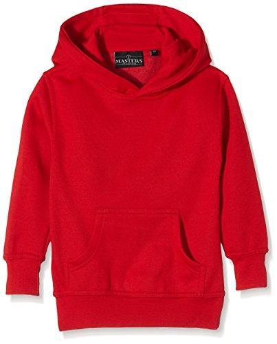 J Masters Schoolwear Unisex Hooded School Sweatshirt, Cappuccio Bambino, Rosso (Red), 3-4 anni (Taglia Produttore: 24)