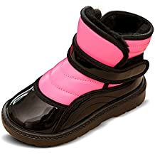 Fortuning's JDS Bambini Unisex inverno caldo d'impionbatura colori Velcro doposci PU stivali impermeabili (Gomma Da Masticare Rosa Pelle)
